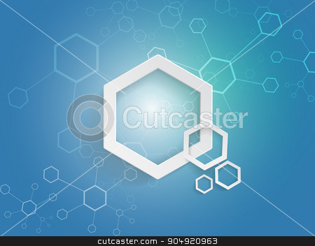 Hexagons on blue background technology concept stock vector clipart, Hexagons on blue background technology concept by Khanong Wiboolkul