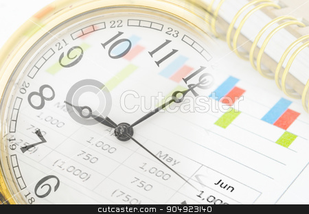 Clock and market report graph with document. stock photo, Clock and market report graph with document. Business time concept. by Miss. PENCHAN  PUMILA
