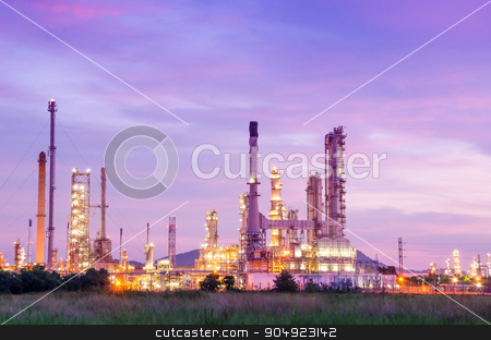 Oil refinery at sunrise. stock photo, Oil refinery at sunrise, Thailand. by Miss. PENCHAN  PUMILA