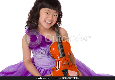Young Japanese Girl Portrait with Violin stock photo, A portrait of a cute, happy and young Japanese girl in a purple dress on a white background with a violin. by Scott Dumas