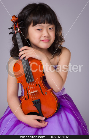 Young Japanese Girl Portrait with Violin stock photo, A portrait of a cute, happy and young Japanese girl in a purple dress on a grey background with a violin. by Scott Dumas