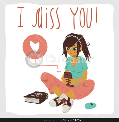 I miss you flat greeting card. stock vector clipart, Vector cartoon romantic card. For game presentation, user interface tablet, smart phone. With girl texting on the phone. by lemon5ky