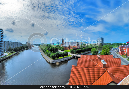 View on historical center in Kaliningrad. Russia stock photo, Kaliningrad, Russia - June 21, 2010: Historical center and Cathedral Church on Kant island in Kaliningrad, UNESCO World Heritage Site by Aikon