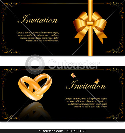 Wedding invitation stock vector clipart, Wedding invitation width  golden rings and ribbon in retro style Perfect for invitations or announcements.  by monicaodo