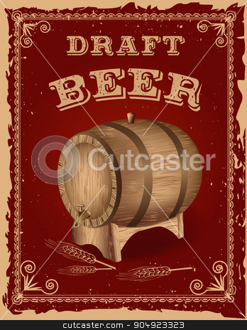Beer poster with a wooden barrel stock vector clipart, Beer poster with a wooden barrel.Retro Vintage Grunge Style by monicaodo