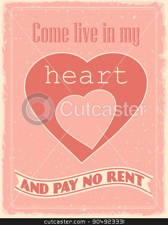 Vintage Valentine's Day  poster stock vector clipart, Vintage Valentine's Day  poster.  by monicaodo