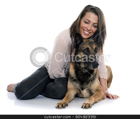 woman and malinois stock photo, woman and malinois in front of white background by Bonzami Emmanuelle