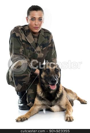 woman soldier and malinois stock photo, woman soldier and malinois in front of white background by Bonzami Emmanuelle