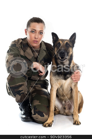 woman soldier and malinois stock photo, woman soldier and malinois in front of white background by Bonzami Emmanuelle