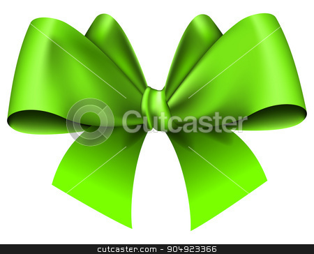 Big green bow stock vector clipart, Big green bow on white background. Vector illustration by zybr78