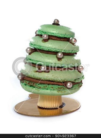 Christmas tree cake stock photo,  Christmas tree cake in front of white background by Bonzami Emmanuelle