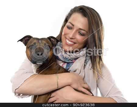 woman and dog stock photo, woman and dog in front of white background by Bonzami Emmanuelle