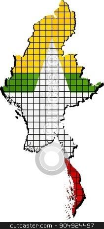 Myanmar map with flag inside stock vector clipart, Myanmar map grunge mosaic, Burma flag in mosaic,  Abstract grunge mosaic vector by Jugoslav