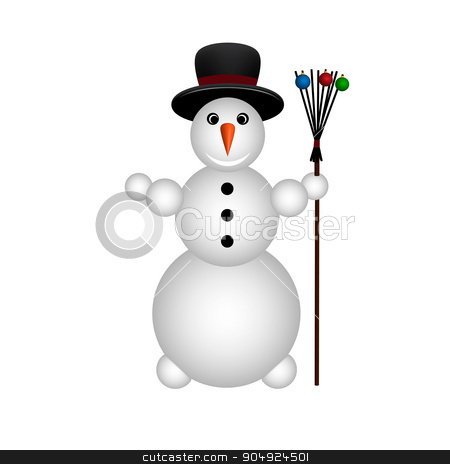 snowman stock vector clipart, snowman on white background by begun1983
