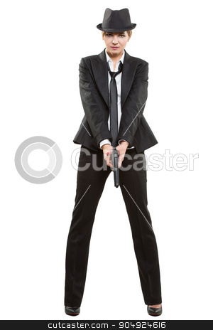beautiful girl gangster holding a gun. Classic suit and hat. isolated on white stock photo, beautiful girl gangster holding a gun. Classic suit and hat by Kopytin Georgy