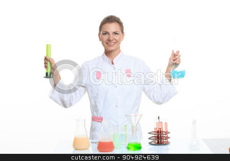 very beautiful Woman chemist and chemicals in flasks, isolated on white stock photo, Woman chemist and chemicals in flasks, isolated on white background by Kopytin Georgy