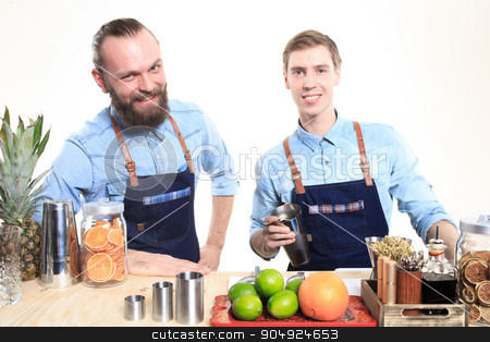 two bartender with a shaker and bottle on white background. behind the bar stock photo, two bartender with a shaker and bottle on white background by Kopytin Georgy