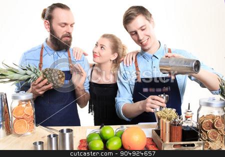 drunk girl clings to the bartenders stock photo, drunk girl clings to the bartenders. Isolated on white background by Kopytin Georgy