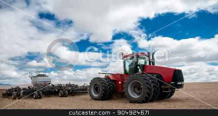Agriculture tractor-landscape in Mongolia. stock photo, The Spring agriculture modern tractor-landscape in Mongolia. by agnormark