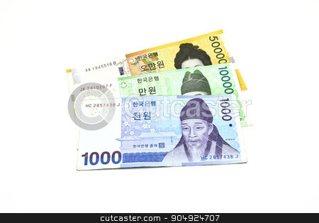 Korean Won currency bills isolated on white background. stock photo, Korean Won currency bills isolated on white background. by doraclub