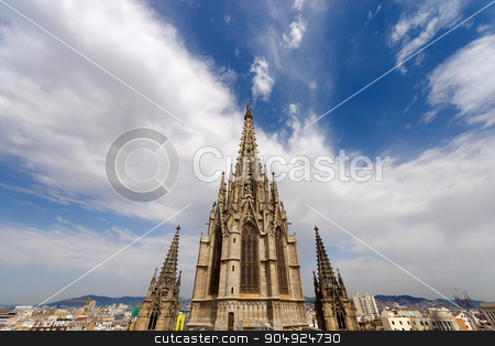 Barcelona Cathedral - Spain stock photo, Cathedral of the Holy Cross and Saint Eulalia (Catedral de la Santa Cruz y Santa Eulalia) in Barcelona, Catalonia, Spain - 13th, 15th centuries by catalby