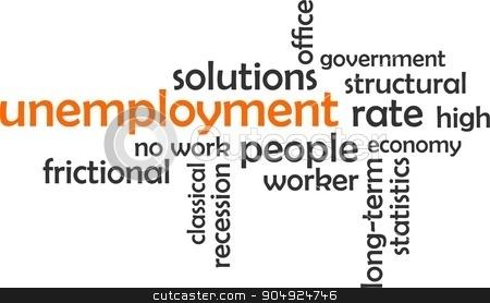 word cloud - unemployment stock vector clipart, A word cloud of unemployment related items by Amir Zukanovic
