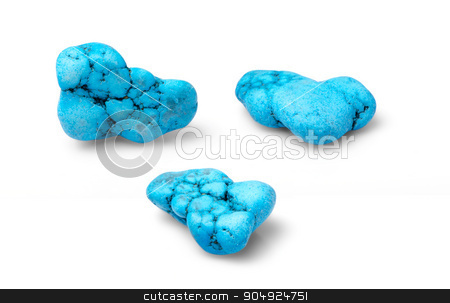Howlit stock photo, Blue turquoise hawlit shot from thre angles isolated on white background. by richpav