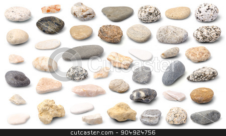 Stones collection stock photo, Set of a plenty of stones isolated on white background. by richpav