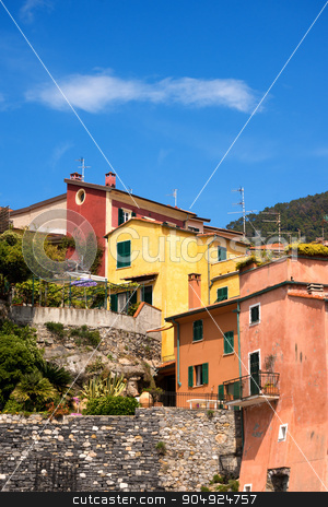 Colorful Houses in Liguria - Italy stock photo, Typical multi colored houses in a ancient and small village of Liguria. Tellaro, La Spezia, Italy by catalby