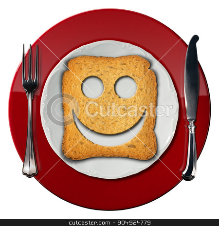 Happy Breakfast Concept - Smiling Rusk stock photo, Red and white plate with a smiling rusk and silver cutlery. Isolated on white background. Happy breakfast concept by catalby