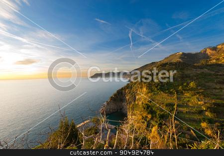 Ligurian Coastline - Cinque Terre Italy stock photo, The coast of Liguria near Corniglia, La Spezia. Cinque terre national park in Liguria Italy. UNESCO world heritage site by catalby