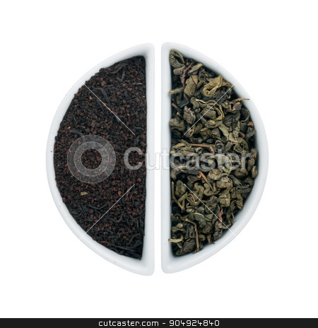 Two ceramic plates with black and green tea stock photo, Two ceramic plates with black and green tea, isolated on a white background by alekleks