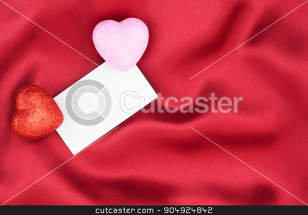 Red and pink  heart with a white card stock photo, Red and pink  heart with a white card on red background by alekleks