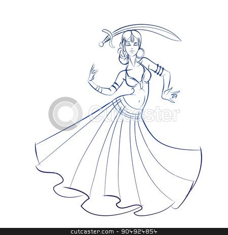 Belly Dancer figure gesture sketch line drawing. stock vector clipart, Gesture sketch line drawing of belly dancing woman by Jera