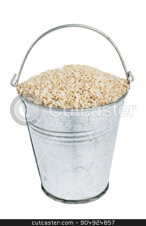 Bucket with sesame seeds  stock photo, Bucket with sesame seeds , isolated on white background by alekleks