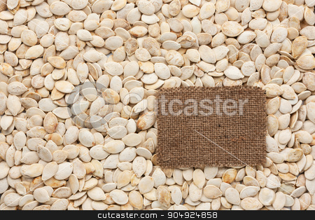 Tag made of burlap lies against the backdrop of pumpkin seeds stock photo, Tag made of burlap lies against the backdrop of pumpkin seeds, with place for your creativity by alekleks