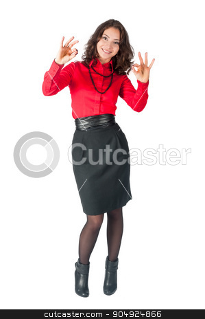 Happy smiling business woman with ok hand sign stock photo, Young beautiful businesswoman showing ok gesture. Isolated over white background by Aikon
