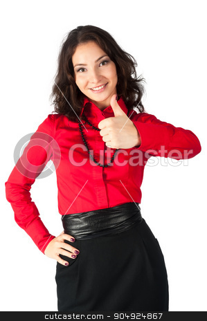 Happy smiling business woman with thumb up sign stock photo, Young beautiful businesswoman showing thumb up gesture. Isolated over white background by Aikon