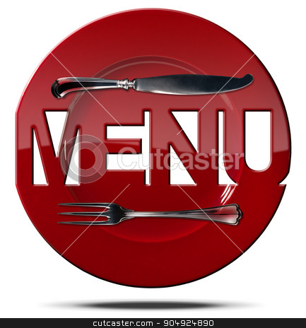 Red Plate Menu - Symbol with Cutlery stock photo, Red plate with text menu and silver cutlery isolated on white background. Symbol for a restaurant menu by catalby