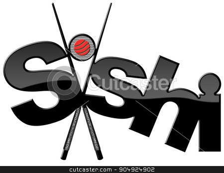 Sushi - Symbol with Black Chopsticks stock photo, Sushi symbol with black and silver chopsticks, sushi roll and text Sushi. Isolated on white background by catalby
