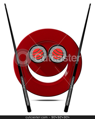 Sushi - Symbol with Smiling Plate stock photo, Sushi symbol with smiling red plate, two sushi rolls and black and silver chopsticks. Isolated on white background by catalby