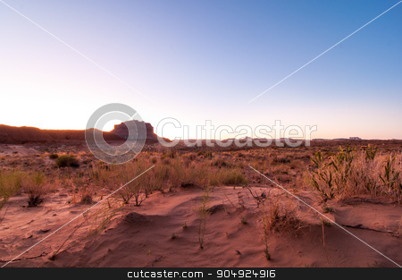 Sand Meets Sky stock photo, Smooth sunset over the desert in the summer by Daniel Stewart