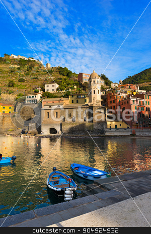 Vernazza Liguria Italy stock photo, The ancient village of Vernazza, the harbor and the church, cinque terre national park in Liguria Italy. UNESCO world heritage site by catalby