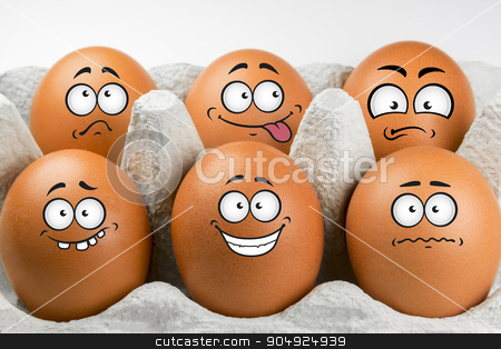 Eggs with faces and various expressions stock photo, Eggs with faces and various expressions  by Tofotografie