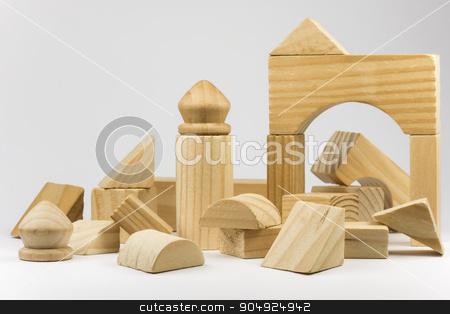 Wooden building blocks stock photo, Wooden building blocks  by Tofotografie