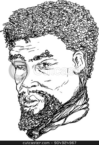 African Man Outline stock vector clipart, Outlined ink portrait of 18th century African man by Eric Basir