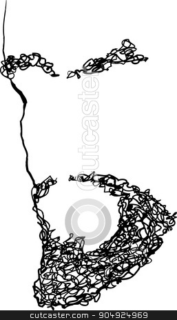 Outlined Beard and Eyebrows stock vector clipart, Hand drawn illustration of beard and eyebrows by Eric Basir