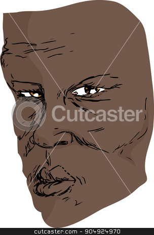 Face of Serious Man stock vector clipart, Freehand drawing of older serious Black man by Eric Basir