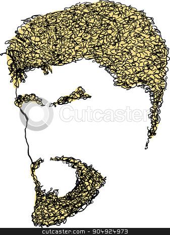 Blank Male Bearded Face stock vector clipart, Blank male face with blond curly hair, eyebrows and beard by Eric Basir