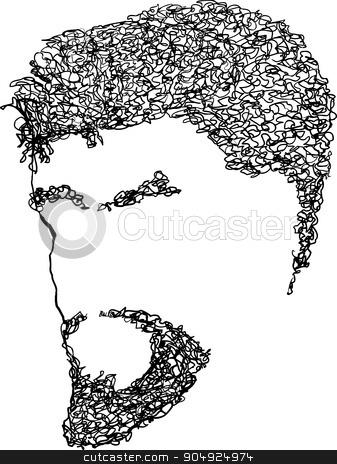 Blank Male Bearded Face stock vector clipart, Blank male face with curly hair, eyebrows and beard by Eric Basir